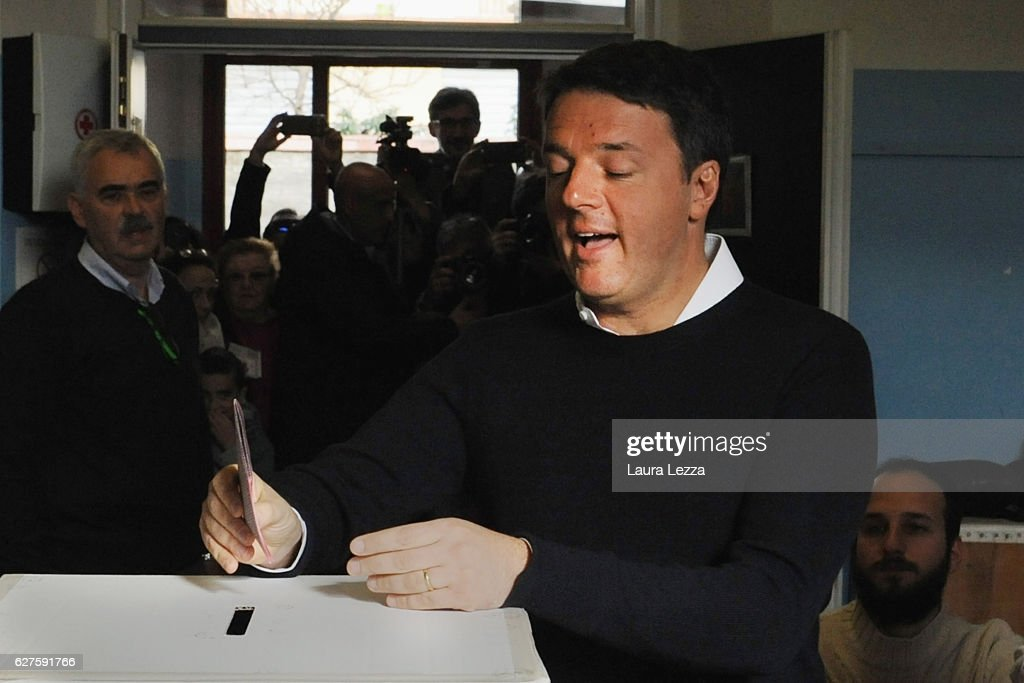 Italian Prime Minister and Democratic Party leader Matteo Renzi casts his vote for the constitutional referendum on December 4, 2016 in in Pontassieve near Florence, Italy. The result of the government referendum that will change the constitution, is considered crucial for the political future of Italy and for the personal future of its Prime Minister.