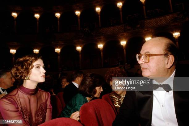 Italian Prime Minister and Secretary of PSI Bettino Craxi and actress Alessandra Martines attend the Puccini's Opera 'Tosca' at the Teatro dell'...