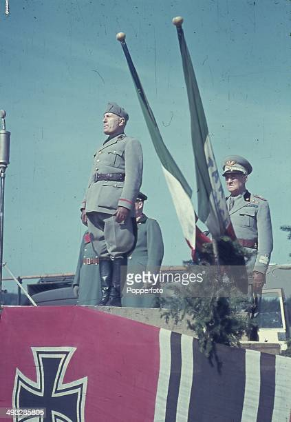 Italian Prime Minister Benito Mussolini addresses Italian troops sent to assist German Forces during Operation Barbarossa, the Axis invasion of the...