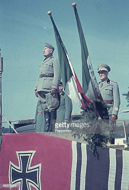 Italian Prime Minister Benito Mussolini addresses Italian troops sent to assist German Forces during Operation Barbarossa the Axis invasion of the...