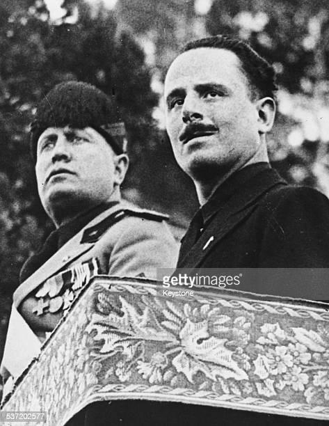 Italian Prime Minister Benito Mussolini and British politician Oswald Mosley, attending a Fascist review celebration in Rome, 1932.
