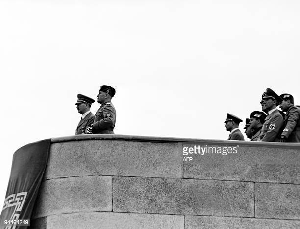 Italian Prime minister Benito Mussolini and Third Reich Chancellor Adolf Hitler give a speech at a rally in Roma during Hitler's fiveday visit to...