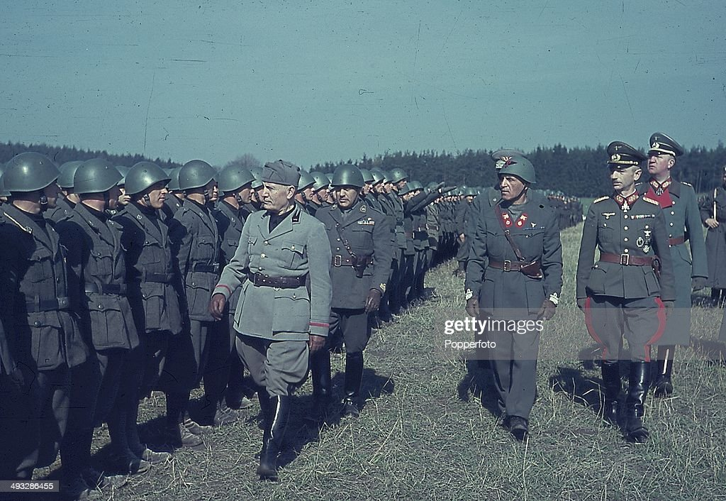 Mussolini Reviews His Troops On Eastern Front : News Photo