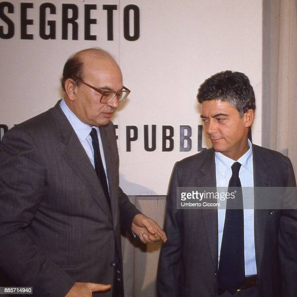 Italian Prime Minister Bettino Craxi is with politician Claudio Martelli at the socialist party headquarters Rome 1987