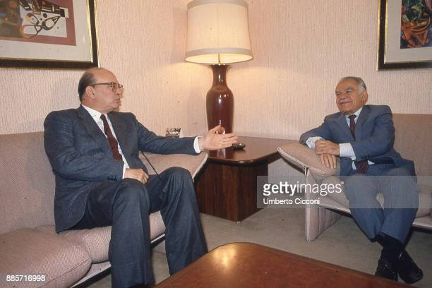 Italian Prime Minister Bettino Craxi talks to Prime Minister of Israel Yitzhak Shamir at the Excelsior Hotel Rome 1987