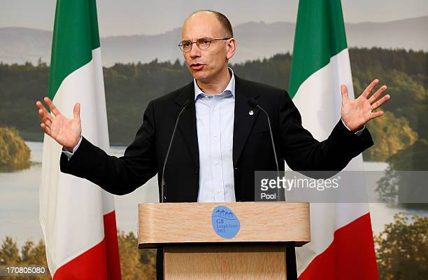 Italian Prime Minister Enrico Letta answers questions from the media at a concluding press conference at the G8 venue of Lough Erne on June 18 2013...
