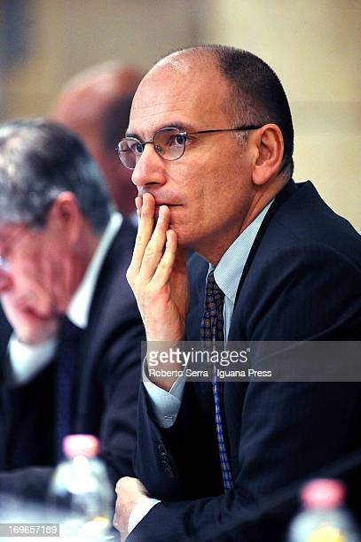 Italian Prime Minister Enrico Letta attends a meeting with the Mayors of lands devasted by the earthquake in Emilia Romagna at Emilia Romagna region...