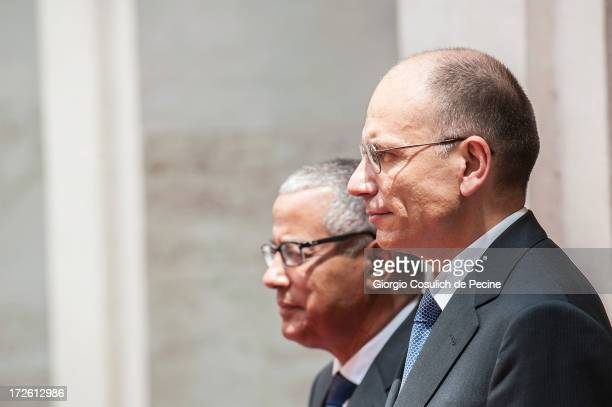 Italian Prime Minister Enrico Letta meets with Libyan Prime Minister Ali Zeidan, as he arrives for a meeting at Palazzo Chigi on July 4, 2013 in...