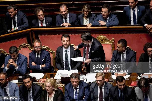 Italian Prime Minister Giuseppe Conte addresses The Senate On Government Crisis on August 20 2019 in Rome Italy Conte said he would formally resign...