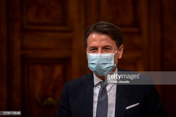 Italian Prime Minister Giuseppe Conte and Italian Minister of Economy and Finance Roberto Gualtieri hold a press conference about the government's...