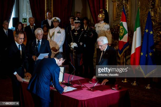 Italian Prime Minister Giuseppe Conte and Italian President Sergio Mattarella attend the swearing-in ceremony of the new Italian government at...