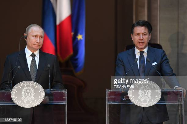 Italian Prime Minister Giuseppe Conte and Russian President Vladimir Putin hold a joint press conference following their meeting at palazzo Chigi in...