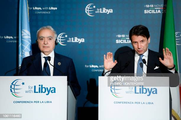 Italian Prime Minister Giuseppe Conte and UN Special Envoy for Libya Ghassan Salame hold on November 13 2018 a press conference following an...