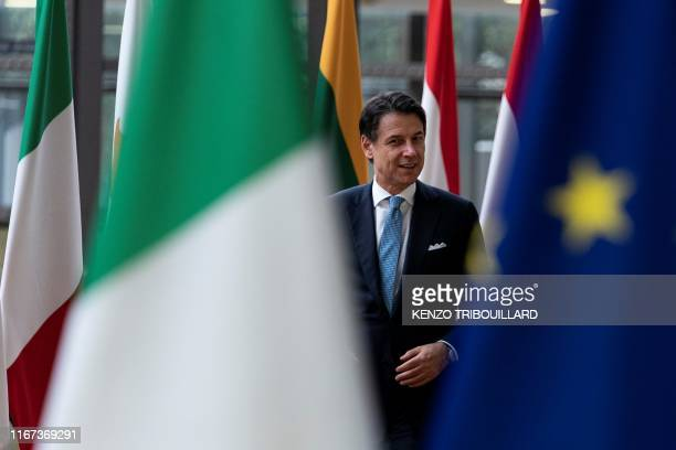 Italian Prime Minister Giuseppe Conte arrives at the EU Headquarters building for a meeting with European Council President in Brussels, on September...