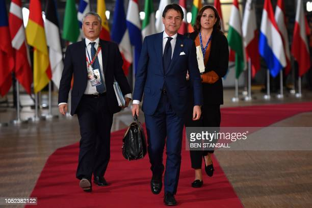 Italian Prime Minister Giuseppe Conte arrives at the European Council in Brussels on October 17 2018 British Prime Minister Theresa May is due to...