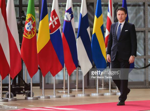 Italian Prime Minister Giuseppe Conte arrives at the Heads of State at the EU Summit on June 21 2019 in Brussels Belgium