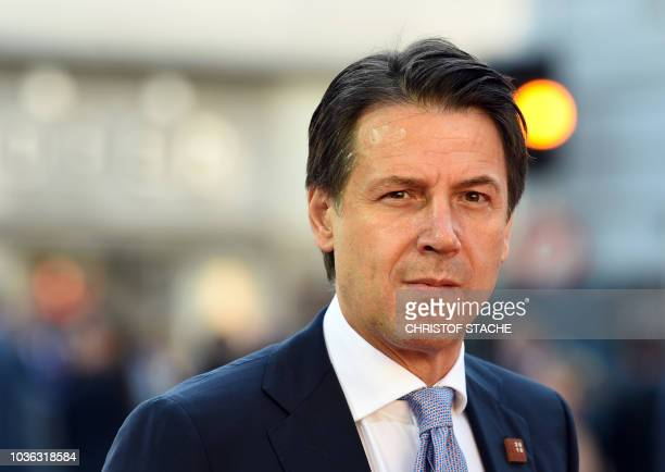 Italian Prime Minister Giuseppe Conte arrives at the Mozarteum University to attend a plenary session part of the EU Informal Summit of Heads of...