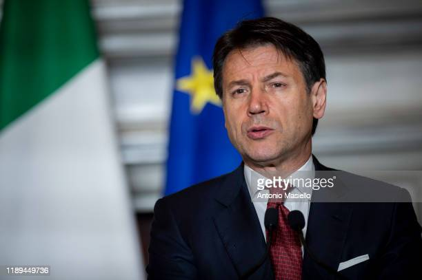 Italian Prime Minister Giuseppe Conte attends a joint press conference with United Nations secretary-general Antonio Guterres at Villa Madama, on...
