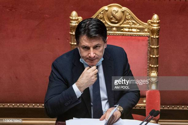 Italian Prime Minister Giuseppe Conte attends the communications on the current political situation at the Italian Senate before the confidence vote,...