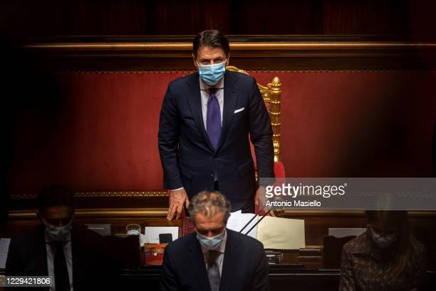 Italian Prime Minister Giuseppe Conte attends the informative debate about further initiatives adopted by Italian government related to the Covid-19...