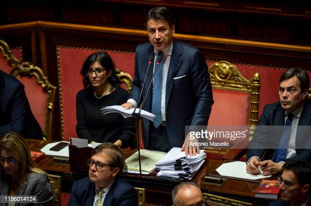 Italian Prime Minister Giuseppe Conte delivers his speech during the information on the changes to the Treaty on the European Stability Mechanism ,...