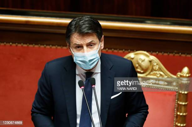 Italian Prime Minister Giuseppe Conte gestures as he replies to questions ahead of a confidence vote at the Senate on January 19, 2021 at Palazzo...