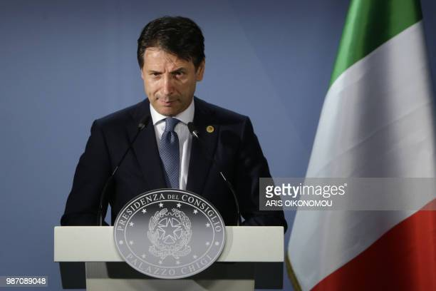 TOPSHOT Italian Prime Minister Giuseppe Conte gives a press conference on the sidelines of an European Union leaders' summit without Britain to...