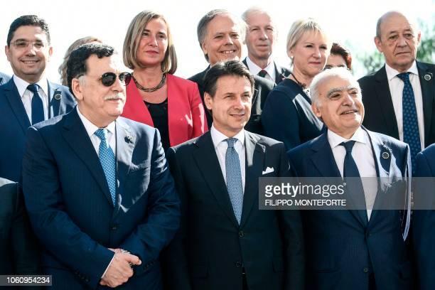 Italian Prime Minister Giuseppe Conte , head of the UN-backed unity government in Tripoli, Prime Minister Fayez al-Sarraj , UN Special Envoy for...