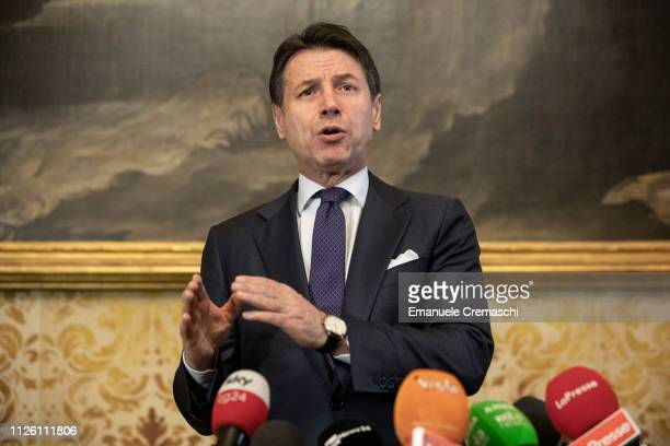 Italian Prime Minister Giuseppe Conte holds a news conference at Palazzo Marino Milan's City Hall on January 30 2019 in Milan Italy