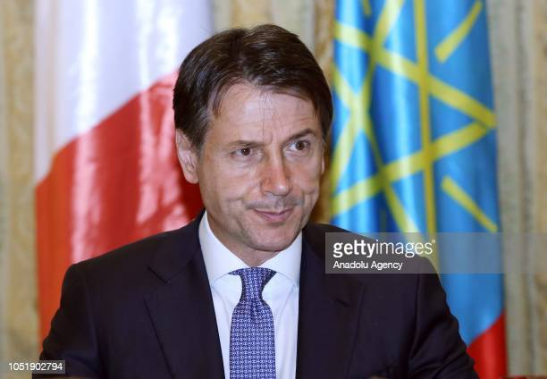 Italian Prime Minister Giuseppe Conte holds a press conference after his meeting with Prime Minister of Ethiopia Abiy Ahmed in Addis Ababa Ethiopia...