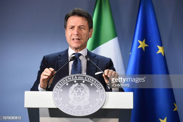 Italian Prime Minister Giuseppe Conte holds a press conference after the European Council on December 14 in Brussels EU leaders will approve a modest...