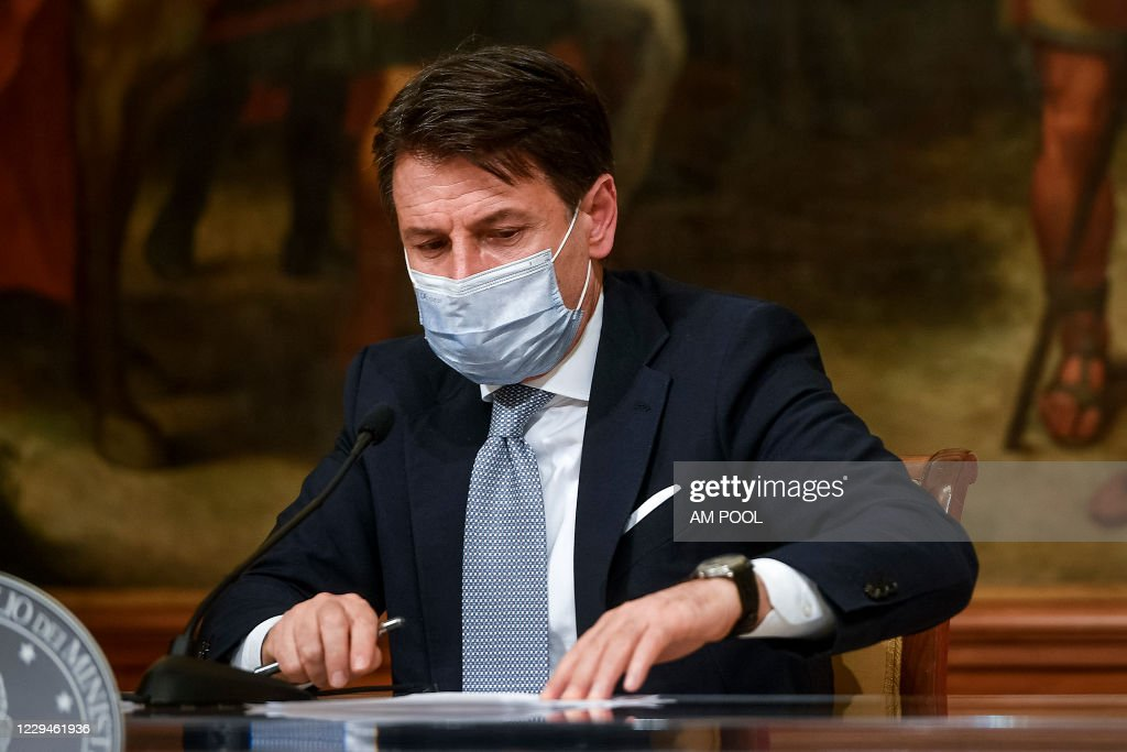 Italy Prime Minister Giuseppe Conte Press Conference In Rome : News Photo