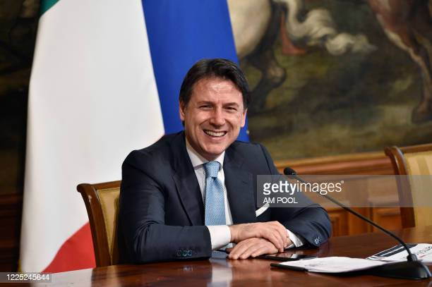 Italian Prime Minister Giuseppe Conte holds a press conference with Minister of Infrastructure and Transport Paola De Micheli and Minister for...