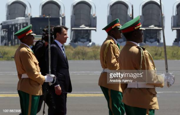 Italian Prime Minister Giuseppe Conte is welcomed by Prime Minister of Ethiopia Abiy Ahmed at Bole International Airport ahead of official visit in...
