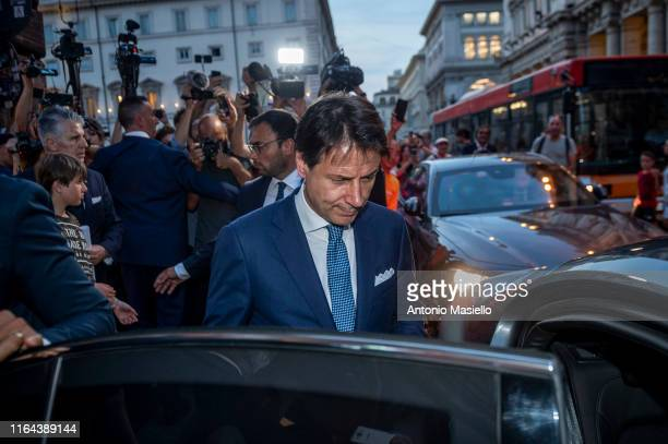 Italian Prime Minister Giuseppe Conte leaves from Chigi palace during the consultations days for the formation of the new government, on August 27,...