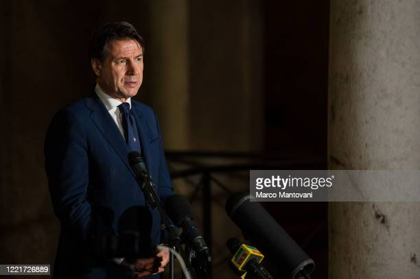 Italian prime minister Giuseppe Conte makes a statement to the journalists on April 28, 2020 in Cremona, Italy. Italy will remain on lockdown to stem...