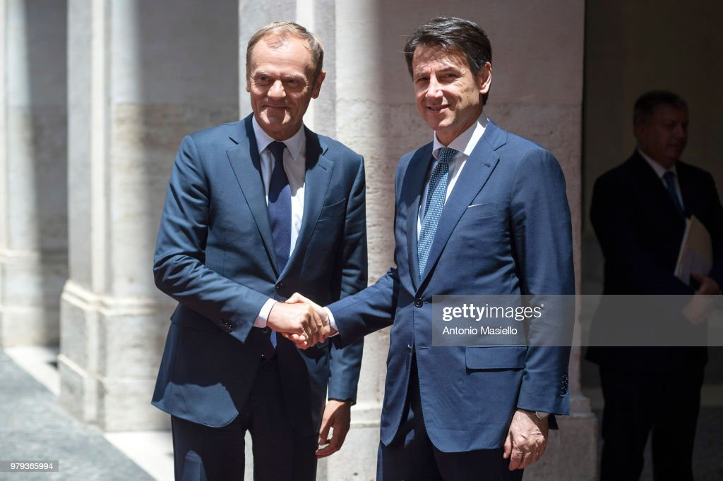 Italian Prime Minister Giuseppe Conte (R) meets European Council President, Donald Tusk (L) at Palazzo Chigi during his visit to Rome on June 20, 2018 in Rome, Italy.