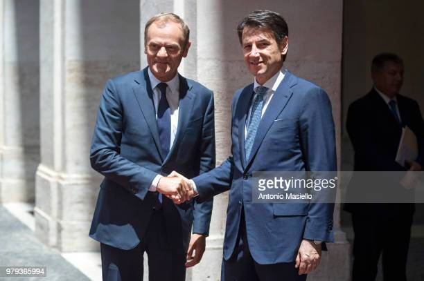 Italian Prime Minister Giuseppe Conte meets European Council President, Donald Tusk at Palazzo Chigi during his visit to Rome on June 20, 2018 in...