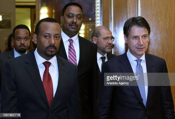 Italian Prime Minister Giuseppe Conte meets Prime Minister of Ethiopia Abiy Ahmed in Addis Ababa Ethiopia on October 11 2018