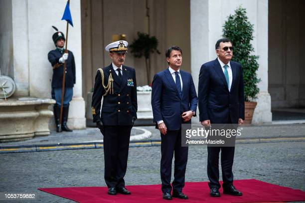 Italian Prime Minister Giuseppe Conte meets Prime Minister of the Government of National Accord of Libya Fayez al-Sarraj for their meeting at Palazzo...
