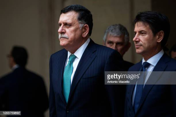 Italian Prime Minister Giuseppe Conte meets Prime Minister of the Government of National Accord of Libya Fayez alSarraj for their meeting at Palazzo...