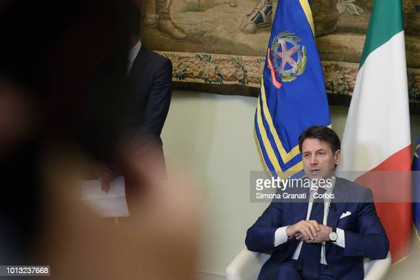 Italian Prime Minister Giuseppe Conte meets the press at Palazzo Chigi before summer break on August 08 2018 in Rome Italy
