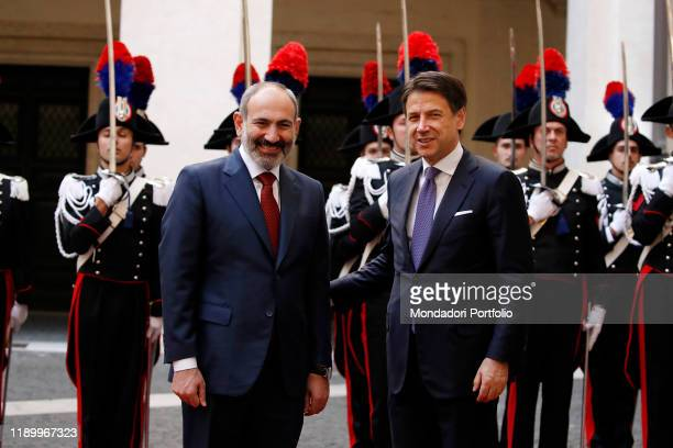 Italian Prime Minister Giuseppe Conte meets the Prime Minister of the Republic of Armenia, Nikol Pashinyan on November 22, 2019 in Rome, Italy.