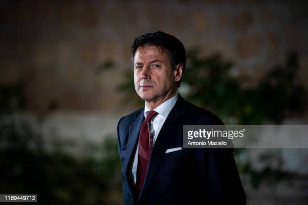 Italian Prime Minister Giuseppe Conte meets United Nations secretary-general Antonio Guterres before a joint press conference at Villa Madama, on...