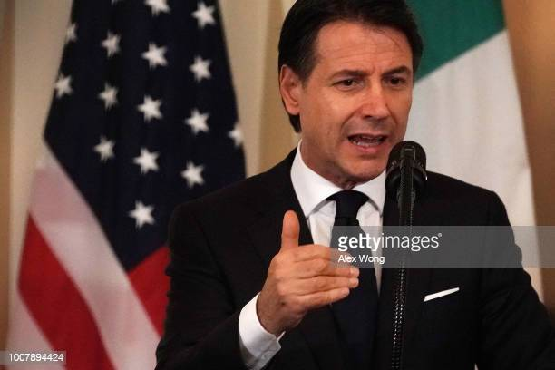 Italian Prime Minister Giuseppe Conte speaks during a joint news conference with US President Donald Trump at the East Room of the White House July...