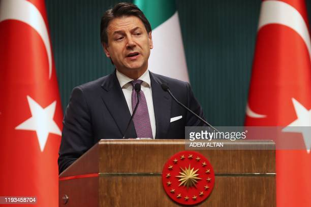 Italian Prime Minister Giuseppe Conte speaks during a press conference following a meeting with Turkish President at the Presidential Complex in...