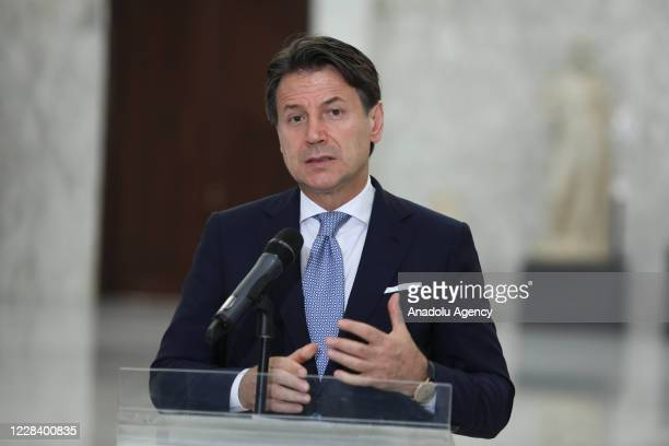 Italian Prime Minister Giuseppe Conte speaks during a press conference after his meeting with President of Lebanon Michel Aoun at Baabda Presidential...