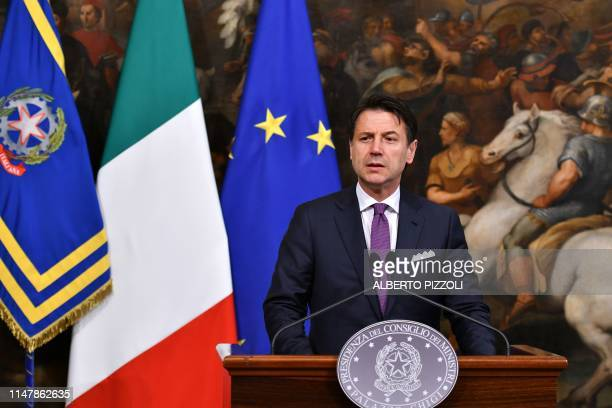 Italian Prime Minister Giuseppe Conte speaks during a press conference at Chigi Palace in Rome on June 3 2019