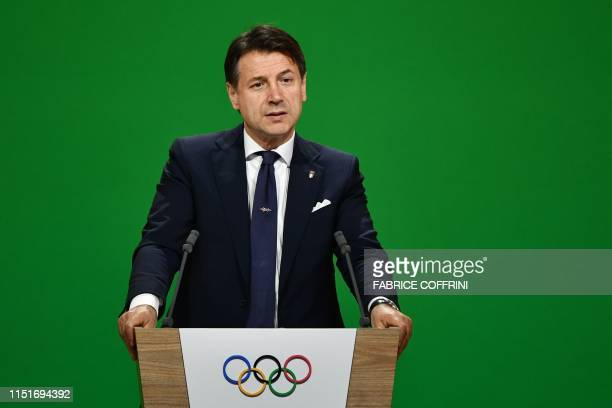 Italian Prime Minister Giuseppe Conte speaks during the Milan/Cortina d'Ampezzo candidature committee's final presentation before the 134th session...