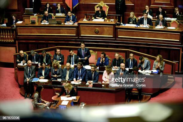 Italian Prime Minister Giuseppe Conte speaks in the presence of all the ministers of his government in the Senate Hall for the first time on June 5...